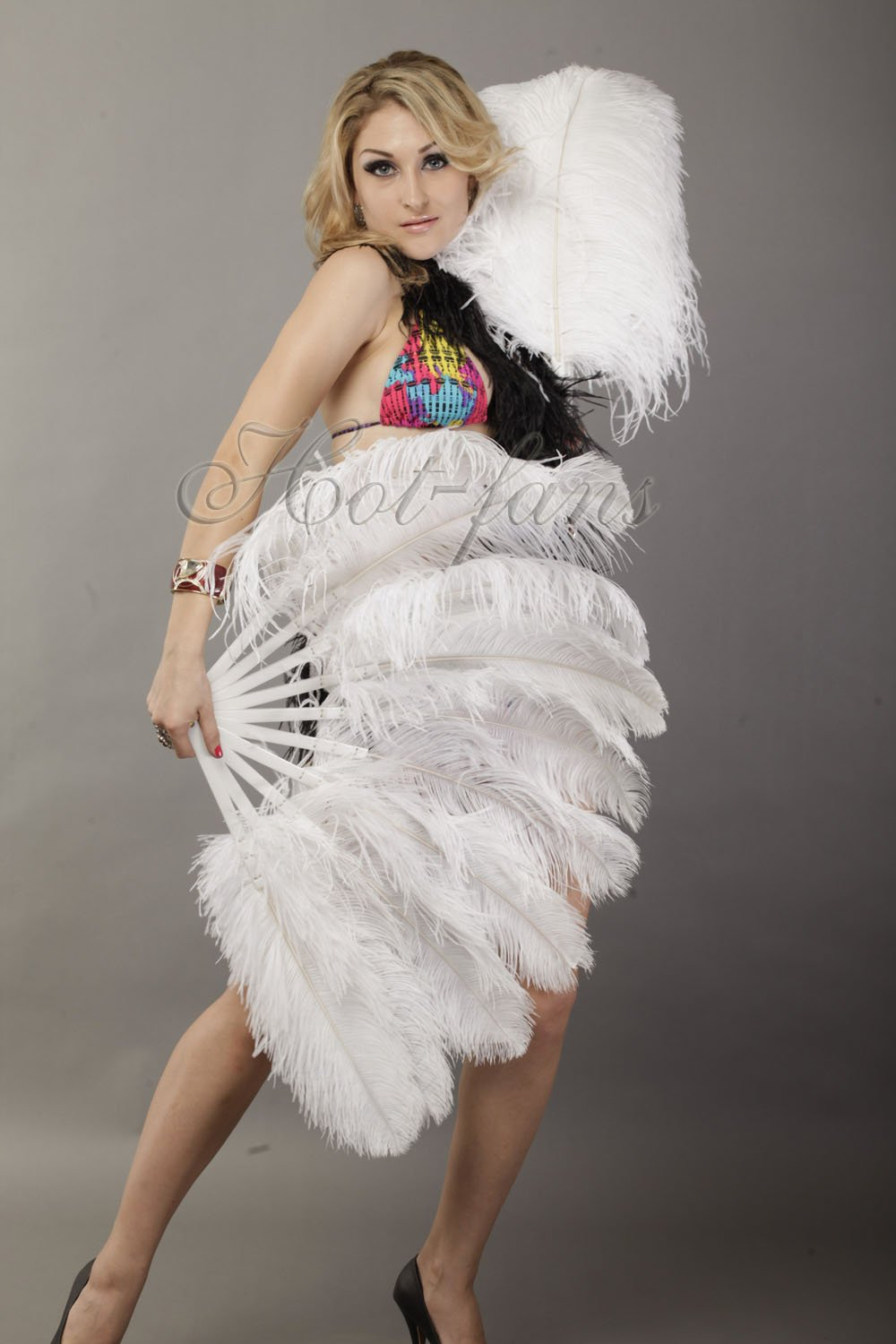 Hot-fans Single Layer Ostrich Feather Fan 24''x 41''for Pair, White