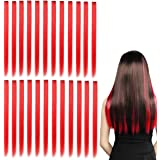Kyerivs Colored Clip in Hair Extensions 20 inch Rainbow Heat-Resistant Straight Highlight Hairpieces Cospaly Fashion Party Kids Girls 24 pcs (Red)