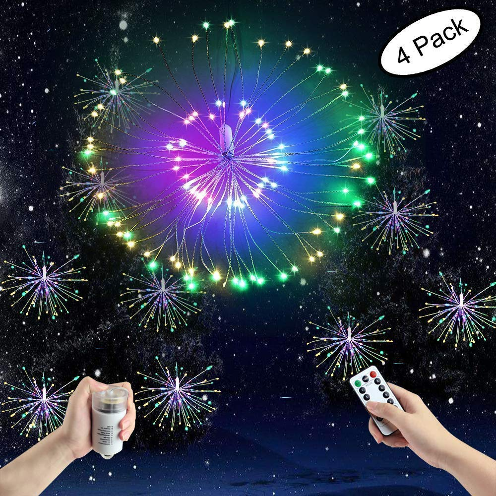 FOOING 4 Pack 120 LED Firework Copper Lights,8 Modes Dimmable String Fairy Lights with Remote Control, Hanging Starburst Lights for Parties,Home,Christmas Outdoor Decoration