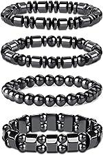 Thunaraz 4Pcs Hematite Bracelet for Men Women Bangle Bracelet Magnetic Tiger