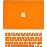 """TOP CASE - 2 in 1 Rubberized Hard Case Cover for MacBook Pro 13.3""""(13"""" Diagonally) with Retina Display (Old Gen. 2012-2015) Model: A1425 & A1502 and Keyboard Cover - Orange"""