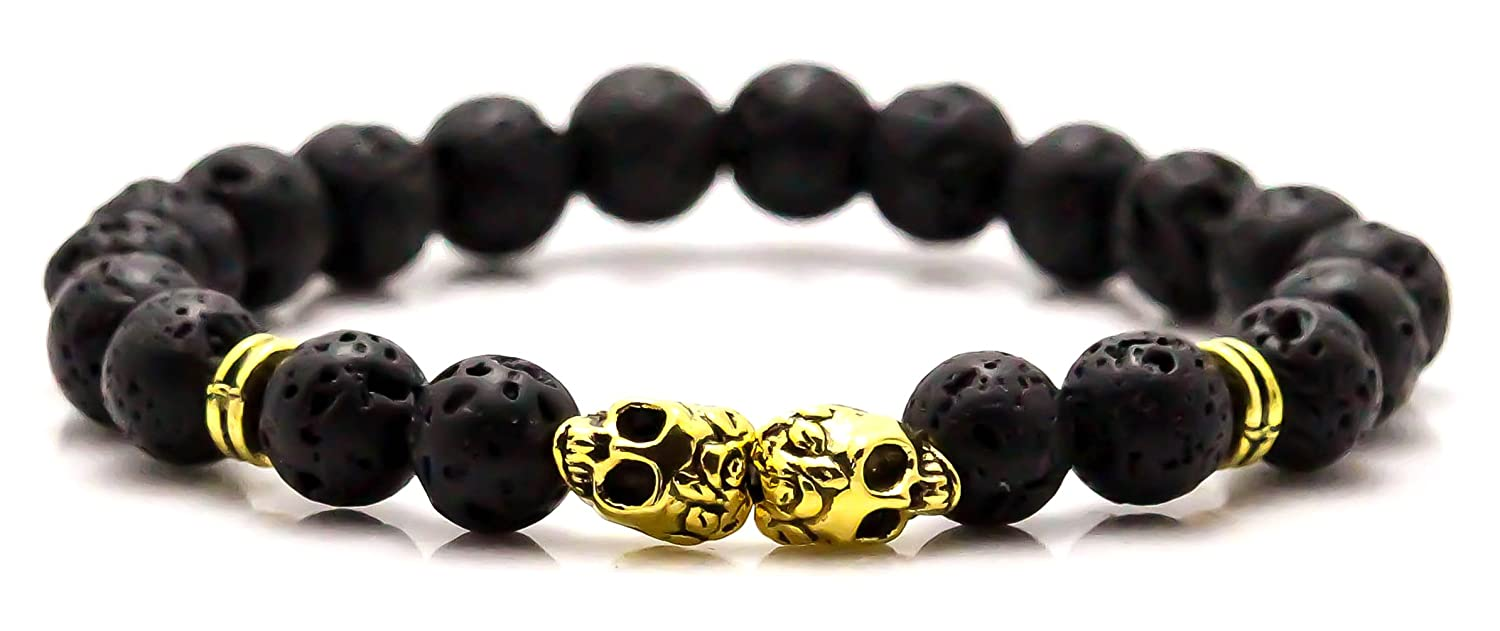 Xusamss Fashion Alloy Double Skull Bangle 8MM Lava Beads Elastic Bracelet, 7.5inches JHKsz796-Gold