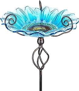 MUMTOP 31 Inch Height Glass Birdbath Birdfeeder with Metal Stake Garden Yard Outdoor (Blue)