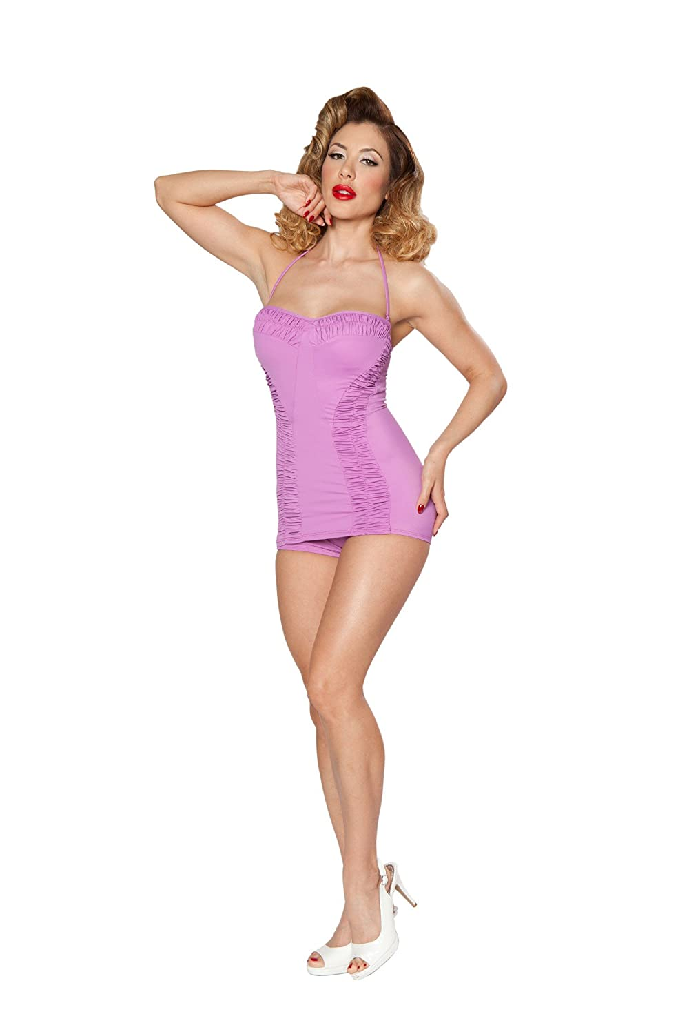1acee22074e Bettie Page Swimsuit one Piece Orchid Ruched Sheath (6) at Amazon Women s  Clothing store