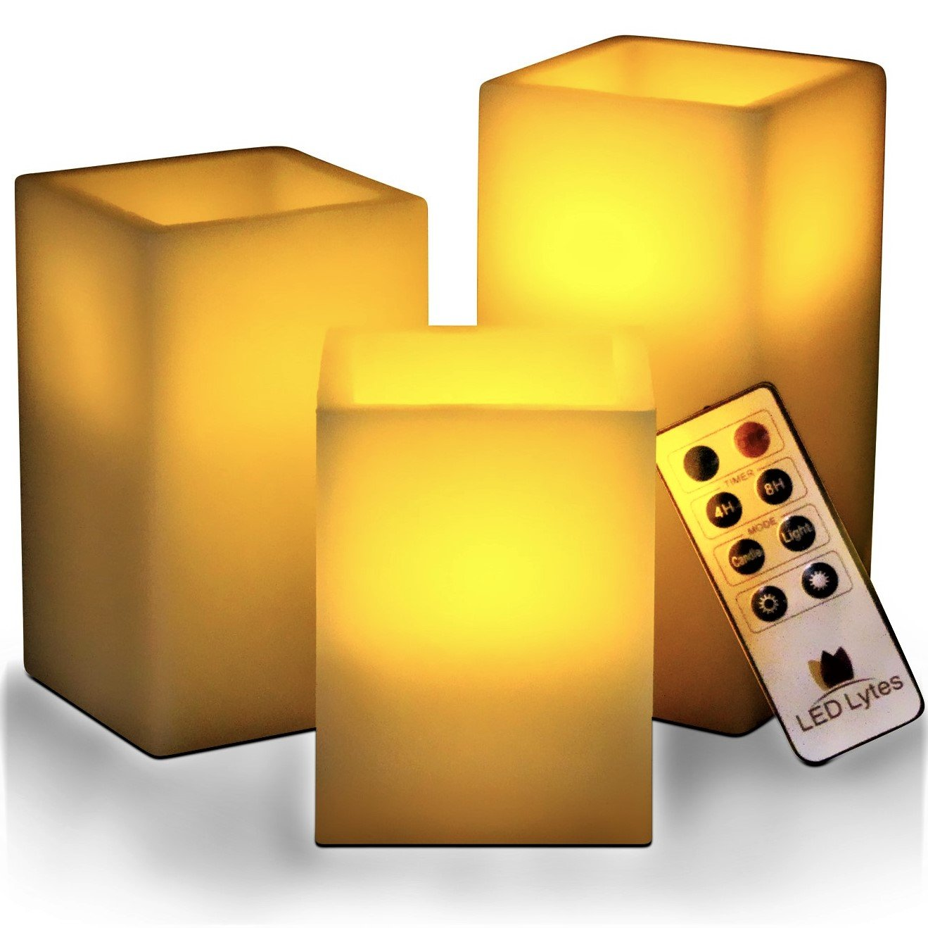 Flickering Flameless Candles Battery Operated - 3 SQUARE Ivory Wax and Amber yellow Flame, auto-off Timer Remote Control, Large fake Battery Powered Candles by LED Lytes, by LED Lytes