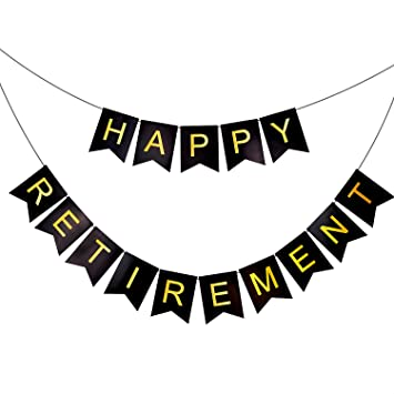 Amazon.com: HAPPY RETIREMENT Banner Bunting - Retirement Party ...