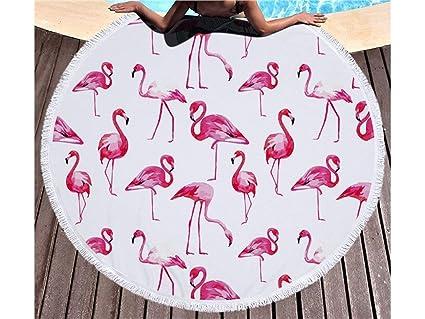 UHUA Toalla de playa redonda rosa impresa del flamenco con la microfibra de la borla los