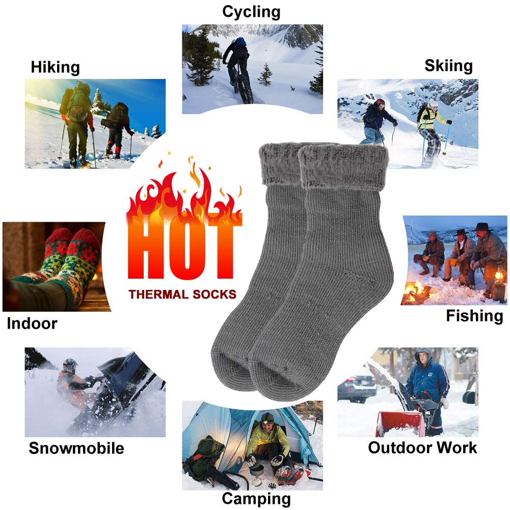 Mens Womens Winter Thick Insulated Heated Boot Socks for Cold Weather KitNSox Warm Thermal Socks