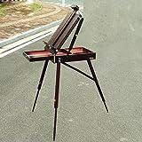 Heruai Cuadro de la pintura al óleo Sistema manual de madera Caballete Caja de herramientas portable