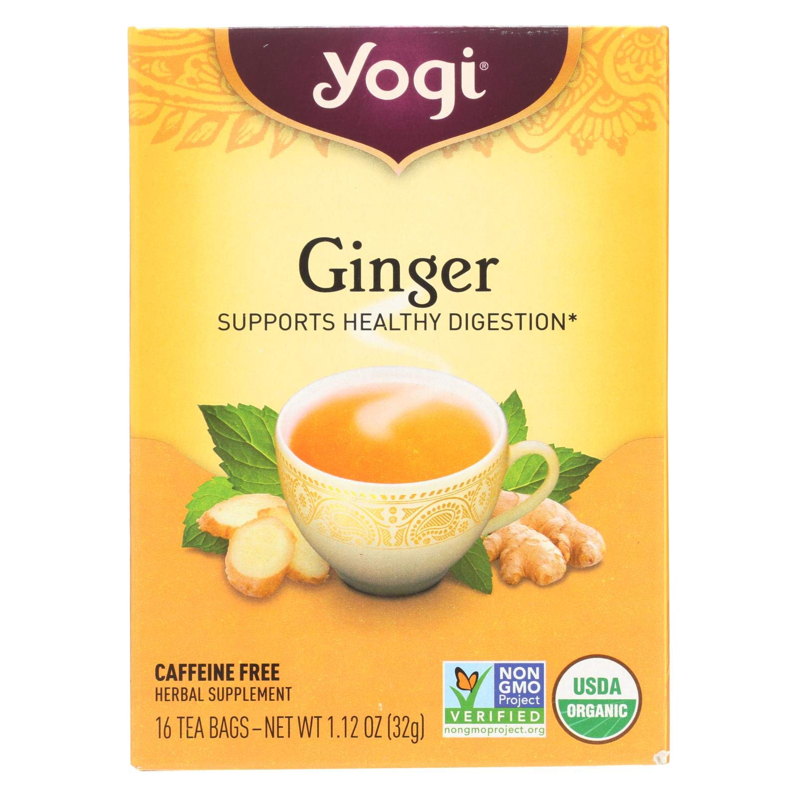 Yogi Tea - Ginger - Supports Healthy Digestion - 6 Pack, 96 Tea Bags Total by Yogi
