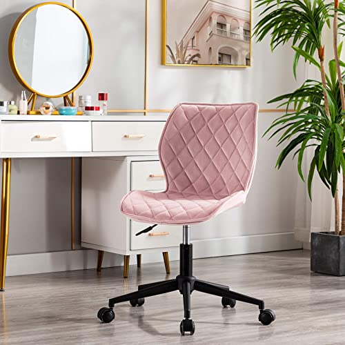 Duhome Velvet Modern Home Office Chair Desk Chair Armless Mid Back Mid Century Modern Adjustable Swivel Computer Chair Metal Base and Black Wheels Ergonomic Design Salmon Pink 1 PCS