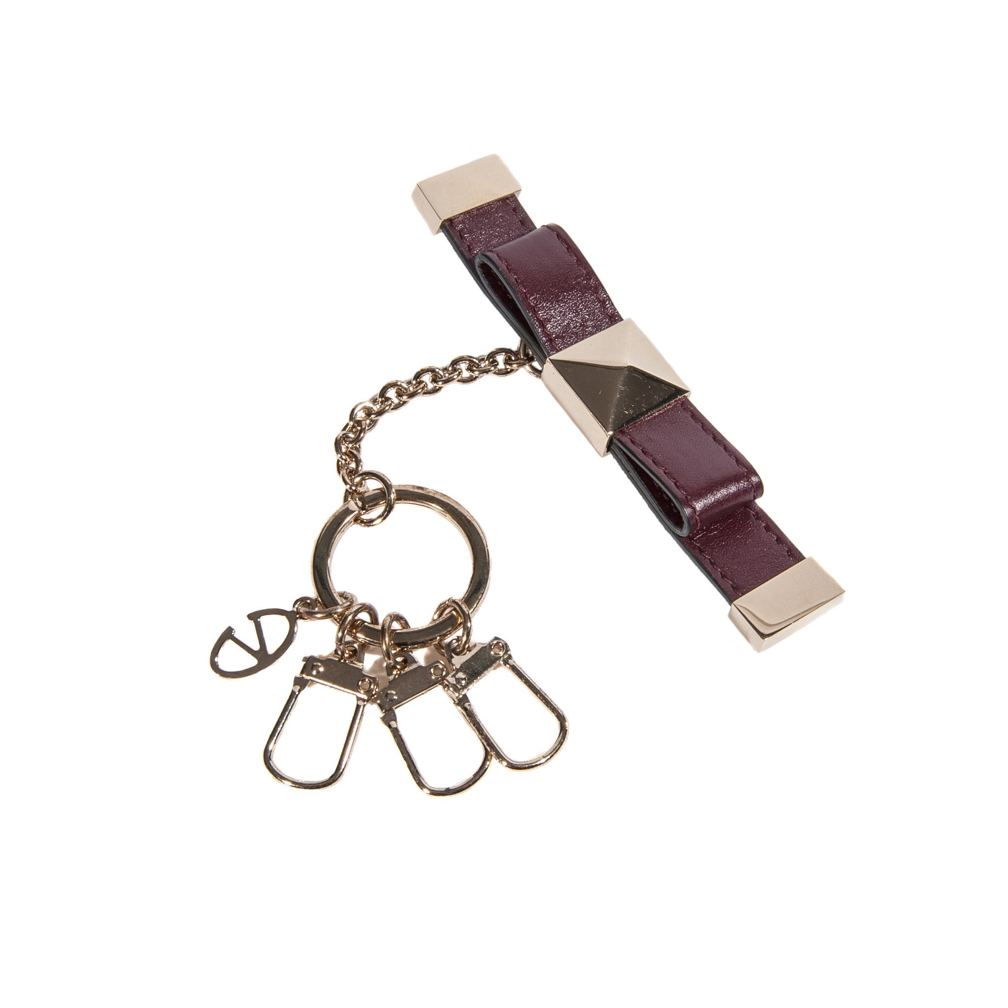 Valentino Woman Man Brown Leather Key Ring