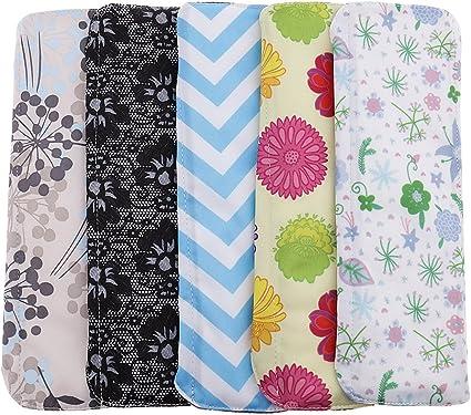 Sharprepublic 5 unidades Compresas de tela de bambú para mujer, para menstruación, incontinencia, lavables y reutilizables: Amazon.es: Belleza