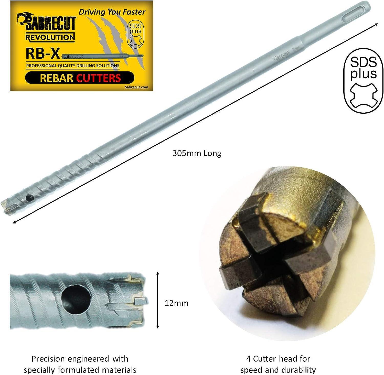 SabreCut Professionelle 12mm x 305mm Betonstahl Schneider Fixierte SDS-Aufnahme Karbidbohrer Bit Schaft Hartmetal l-Bohrer