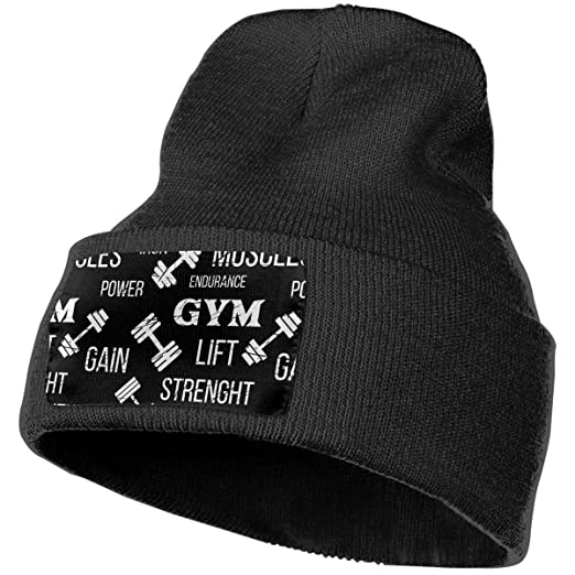 Butterfly Rain Mens Womens Gym Label Dumbbell Unisex Beanie Hat Warm Hats Skull  Cap Knitted Hat 60182115d06