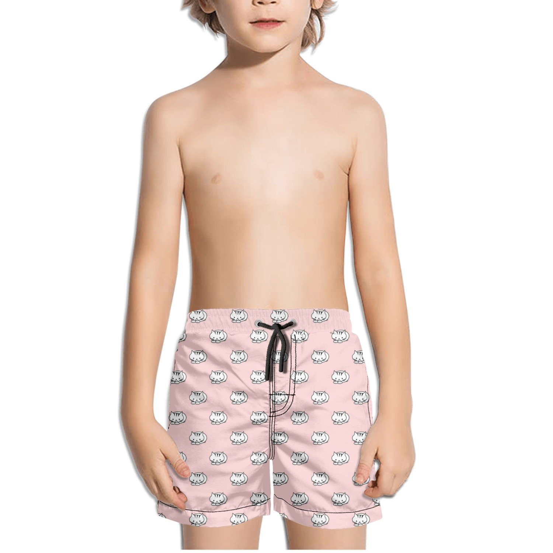 Crouching Cat Pattern Kids Boy's Fast Drying Beach Swim Trunks Pants