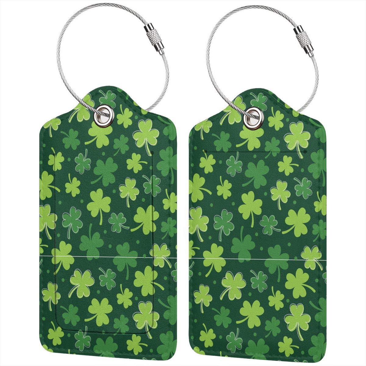 Lucaeat Clover Leaf Pattern Luggage Tag PU Leather Bag Tag Travel Suitcases ID