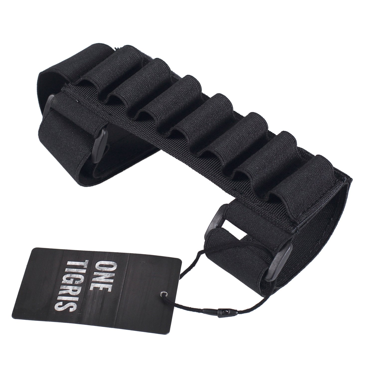OneTigris 1000D 7 Round Tactical Shotgun Stock Shell Holder Ammo Carrier Hunting Pouch Strip (Black)