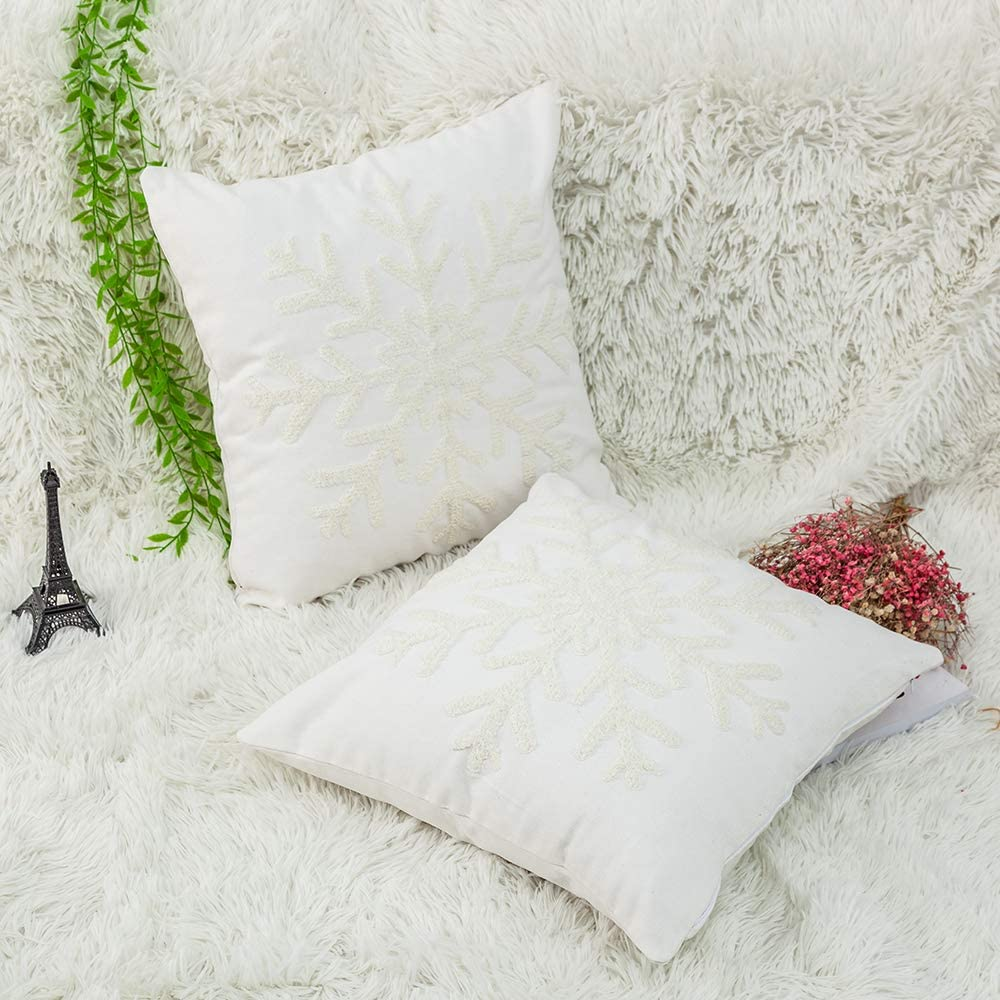 Christmas Decor Throw Pillow Cover Holiday Decor Home Decoration Christmas Snowflake Canvas Cotton Embroidery Throw Pillow Covers 18x18 Cushion Covers Pillowcases for Sofa Bed Chair(1 Pair, White)