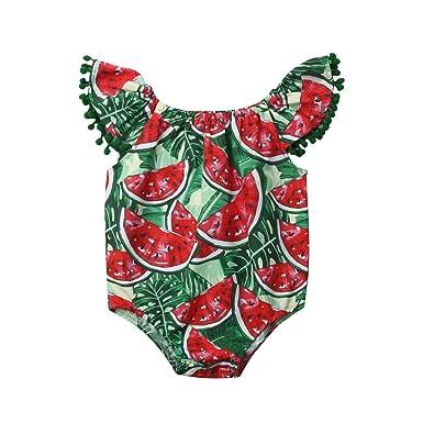 09d25cfc9c3b Amazon.com  Newborn Baby Kids Cute Tassels Watermelon Romper ...