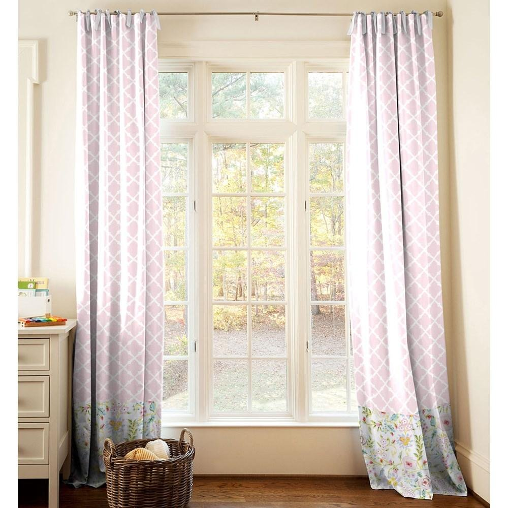 Carousel Designs Pink and Gray Primrose Drape Panel 96-Inch Length Standard Lining 42-Inch Width
