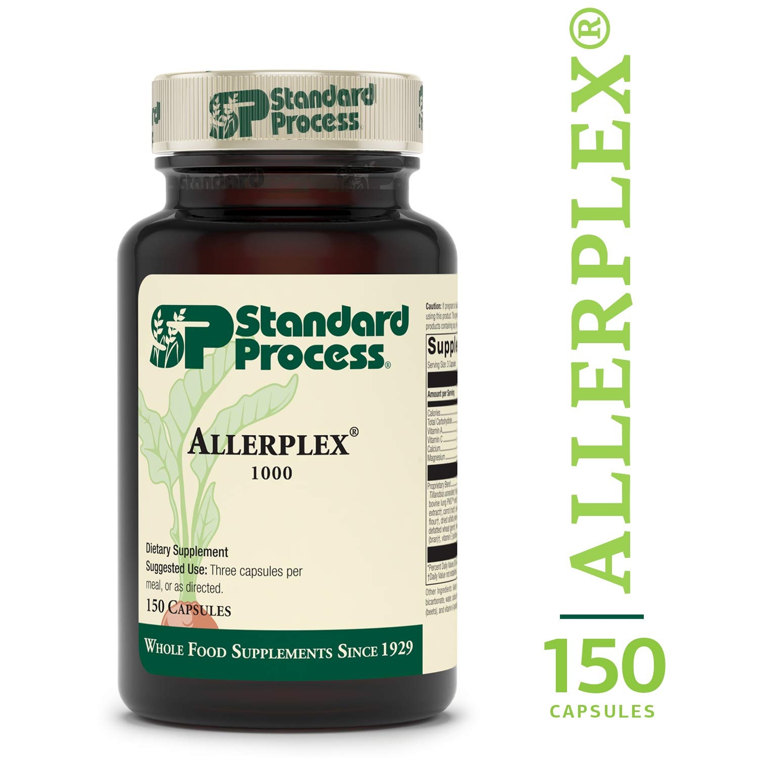 Standard Process - Allerplex - 525 IU Vitamin A, 4mg Vitamin C, 20mg Calcium, 12mg Magnesium, Supports Healthy Function of Liver, Sinuses, and Lungs - 150 Capsules by Standard Process