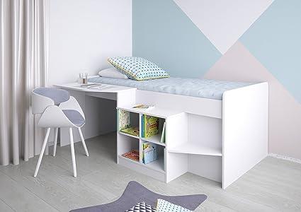 POLINI Kids Letto per bambini Letto a soppalco con scrivania e porta ...