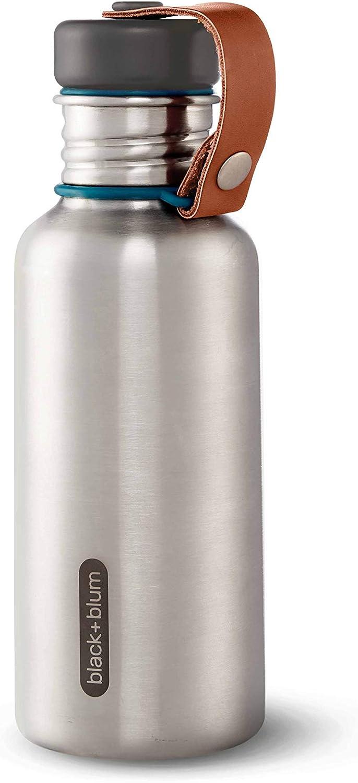 BLUM Botella de Agua aislada de Acero Inoxidable Acero Inoxidable Silicona Piel sint/ética Large Naranja BLACK