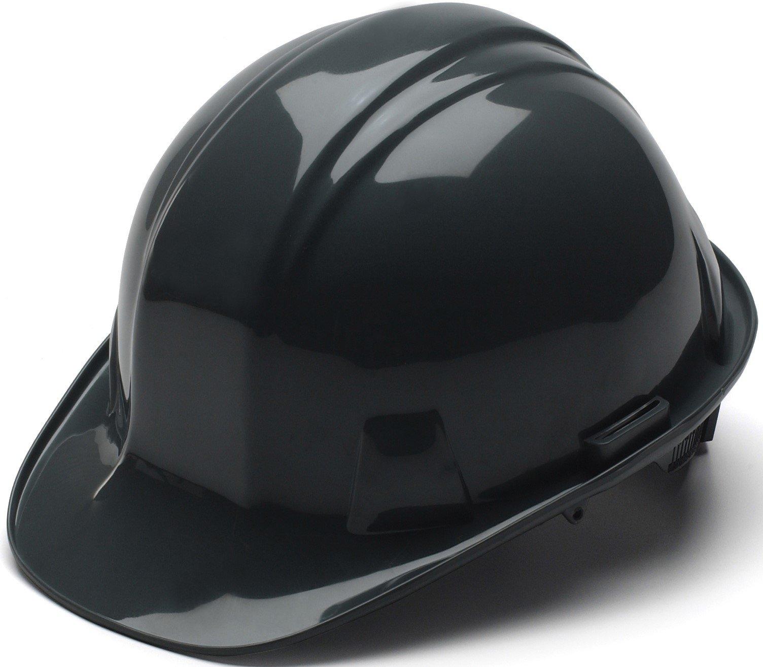 Pyramex Standard Shell Ratchet Suspension Hard Hat, 4 Point Ratchet Suspension, Black