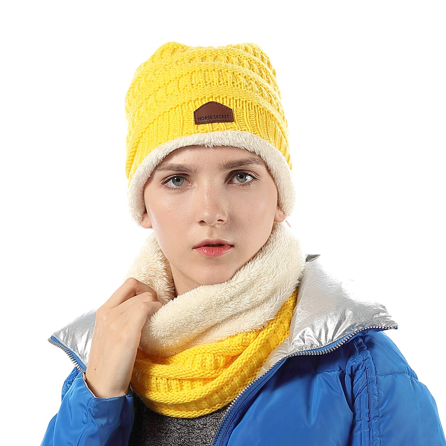 ba7be2155 Ponytail Messy Bun BeanieTail Soft Stretch Cable Knit Hat Scarf Set ...
