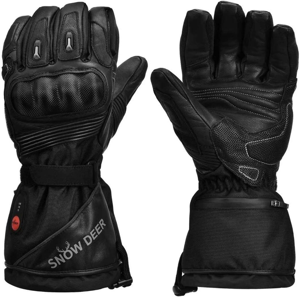 guantes de moto de cuero calefactables