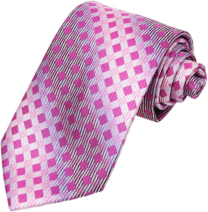 Dan Smith DAA7C02B Rosa morado Checkered microfibra corbata ...