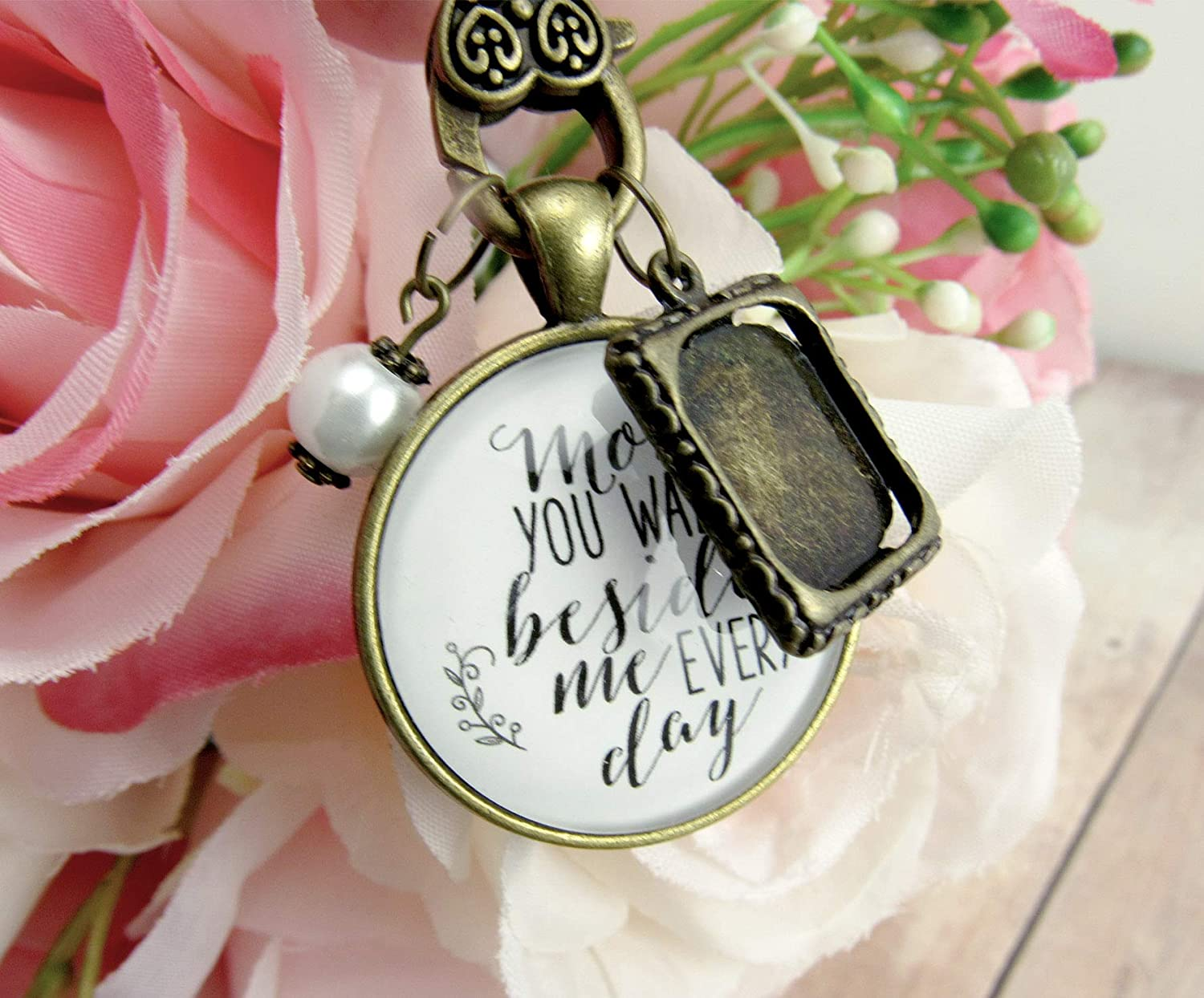 Wedding Bouquet Photo Charm Mom You Walk Beside Me Every Day White Bridal Pendant Mother Remembrance Memorial Photo Jewelry