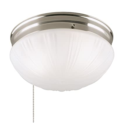 brand new d3e5a 87bac Westinghouse Lighting 6721000 Two-Light Flush-Mount Interior Ceiling  Fixture with Pull Chain, Brushed Nickel Finish with Frosted Fluted Glass