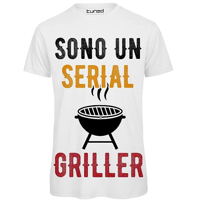 more photos 7d5d4 55d30 CHEMAGLIETTE! Maglietta Uomo T-Shirt Divertente con Stampa Ironica Sono Un  Serial Griller Tuned