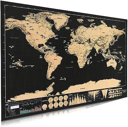 Póster de mapa del mundo para rascar, mapa internacional para decoración de pared, para el hogar, con detalles del mundo como capitales, estados, ciudades, 42 x 30 cm: Amazon.es: Oficina y papelería
