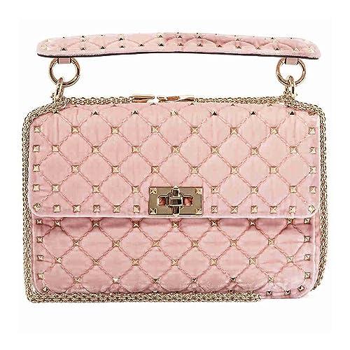 d2fa9122dd Valentino Rockstud Spike Medium Velvet Shoulder Bag- Rosa: Amazon.ca: Shoes  & Handbags