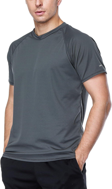 Charmo Mens surf Shirts Sun Protection Swimwear surf Shirt Rash Guard Swim top Gray XL