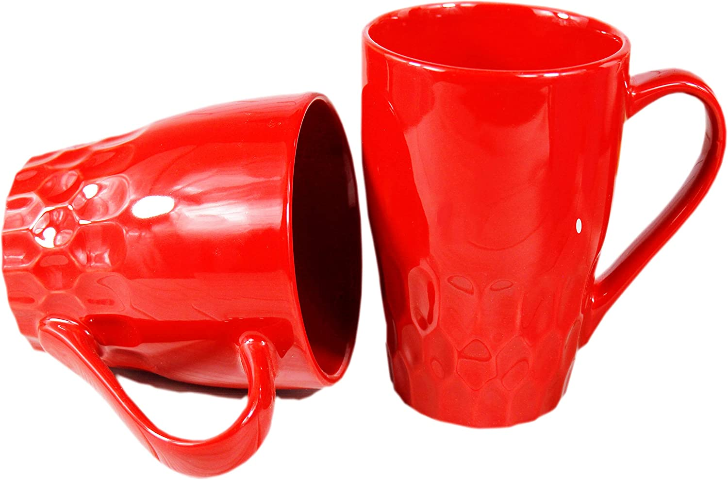 16oz Ceramic Coffee Mug Set of 2 Tea Cup for Office and Home with unique design (red)