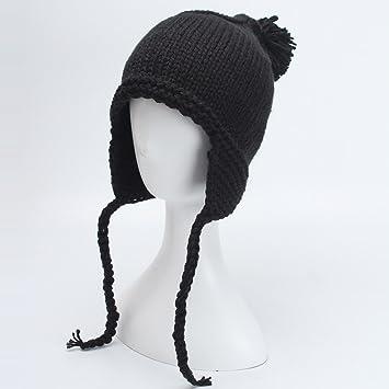 Sombrero de invierno femenino 2018 de punto gorra de pelo bola de color sólido oreja y terciopelo cálido sombrero de lana al por mayor,Negro: Amazon.es: ...