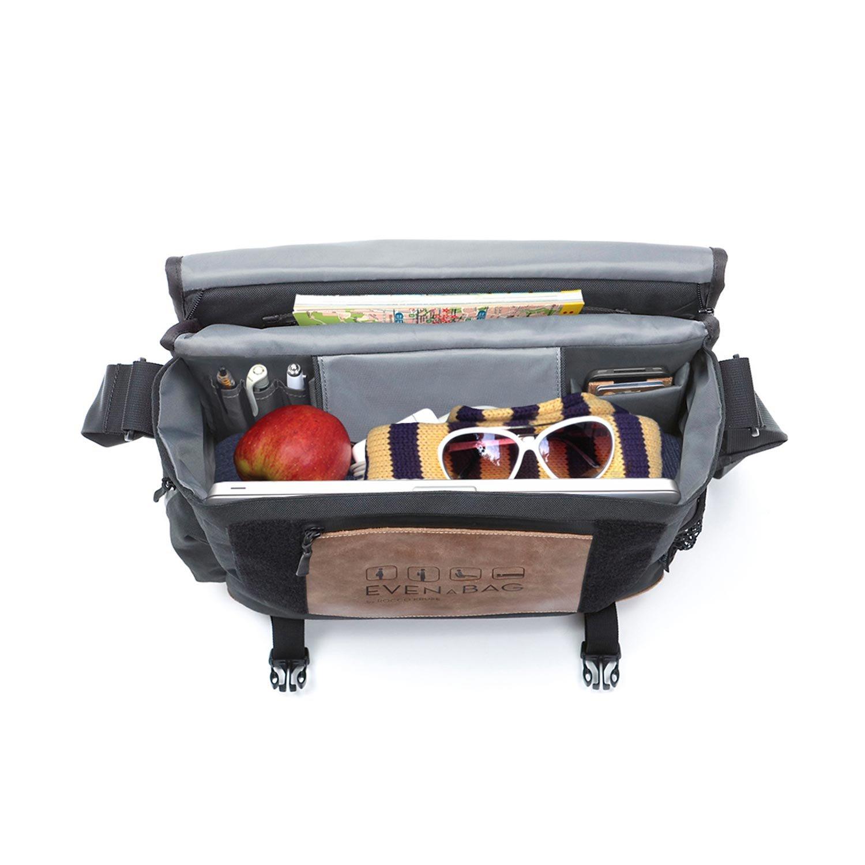 Laptoptasche kompatibel bis 15 Zoll Picknickmatte /& Wickeltasche in Blau Echtleder Schultertasche f/ür Herren /& Damen EVENaBAG Umh/ängetasche mit Campingsitz