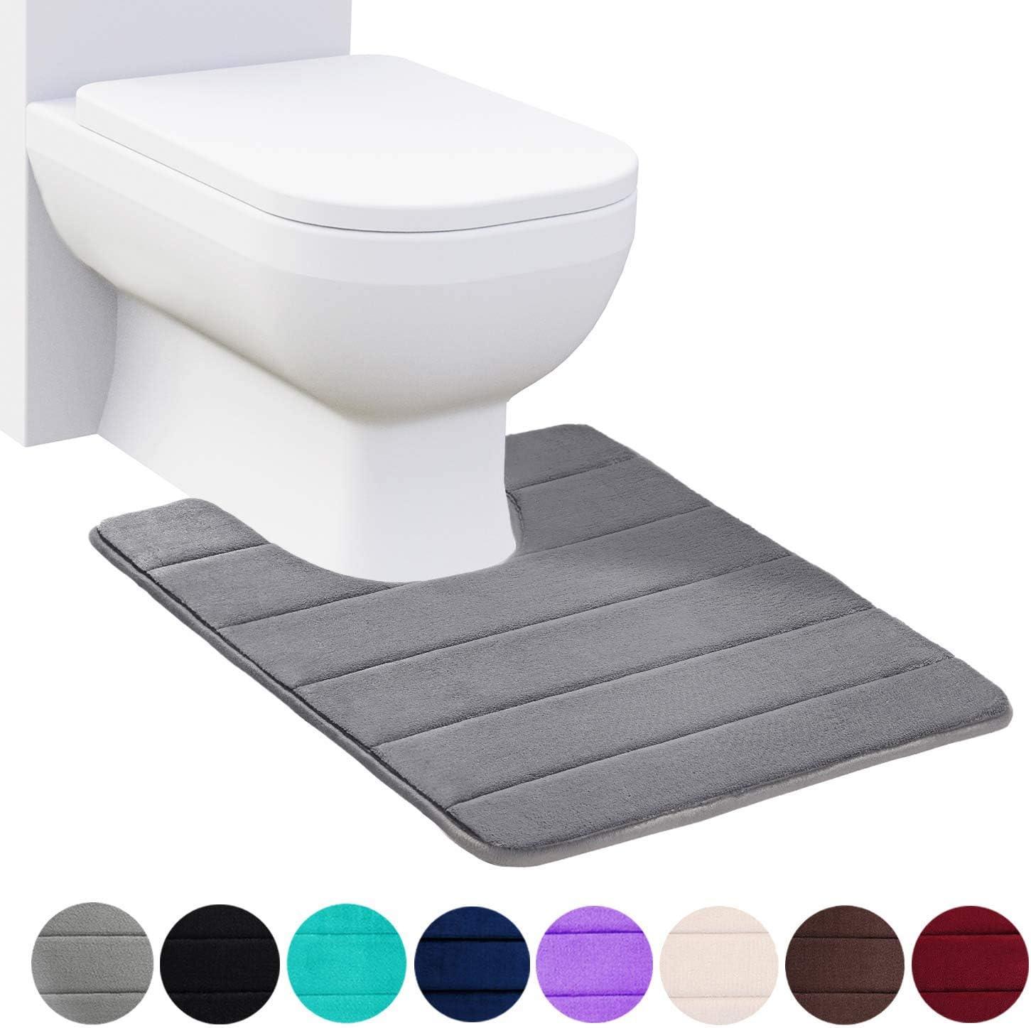 Floor Carpet Bath Mat for Bathroom Sink Toilet U-Shaped Non Slip Absorbent Thick Soft Washable Bathroom Rugs 20 x 24, Black Buganda Memory Foam Contour Toilet Bath Rug