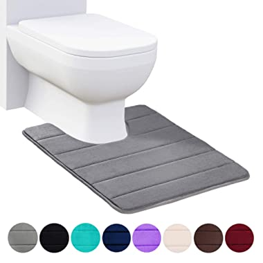 Buganda Memory Foam Contour Toilet Bath Rug, U-Shaped Non Slip Absorbent Thick Soft Washable Bathroom Rugs, Floor Carpet Bath Mat for Bathroom Sink Toilet (20  x 24 , Grey)