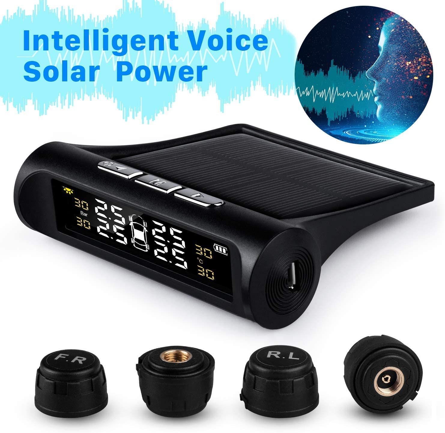 Solar Power TPMS Tire Pressure Monitoring System with 4 External Cap Sensors Real Time Pressure /& Temperature Alerts Ensure Safe Driving 6 Alarm Modes Rocboc Wireless Smart Tire Safety Monitor