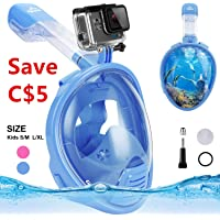 Snorkeling Mask Snorkel Mask Full Face Diving Mask,180° Panoramic Compatible Mask with Easy Breathing,See More with Larger Viewing Area Than Traditional Masks,Anti Fog & Anti Leak Technology for Adults & Kids
