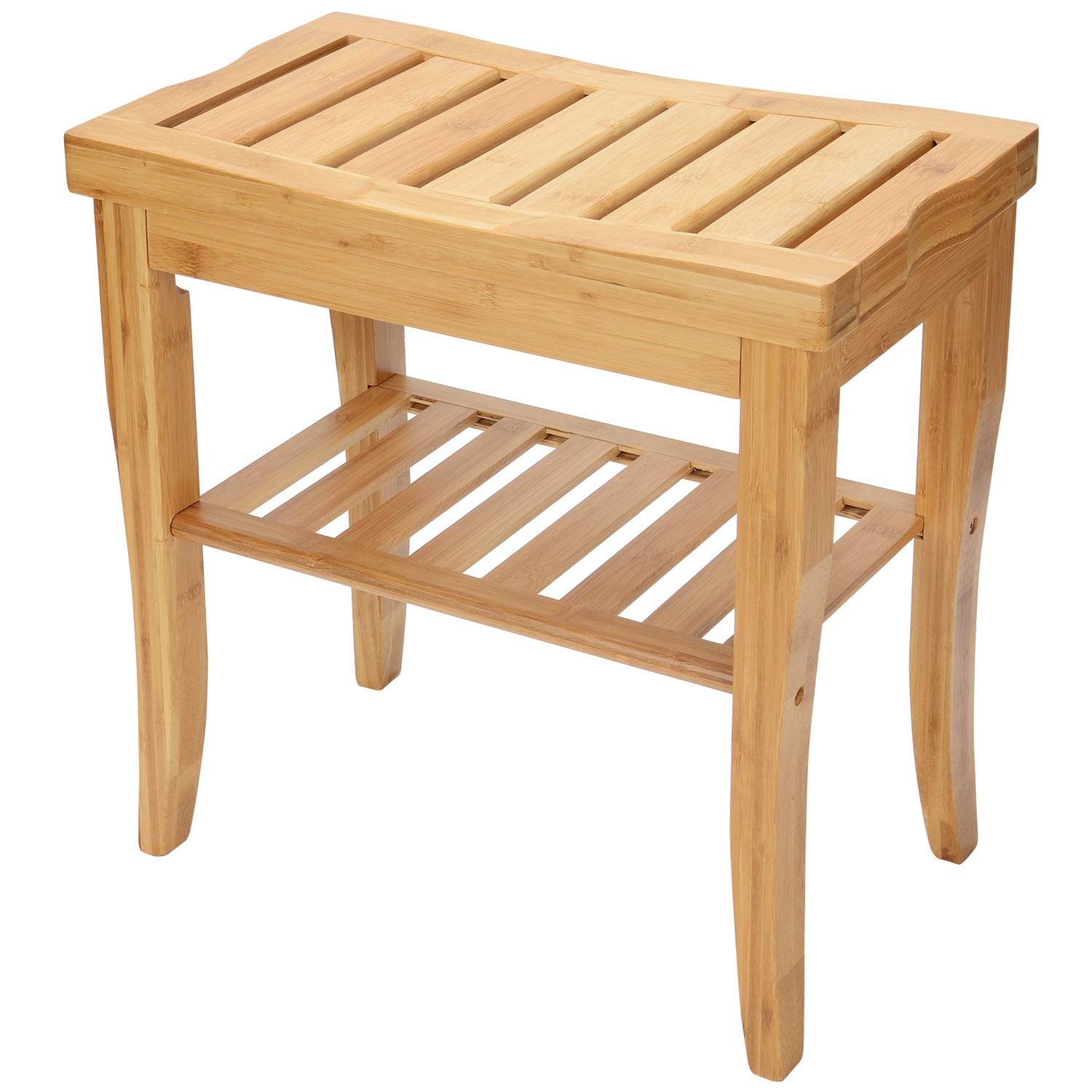 SortWise ® Bamboo Bathroom Shower Bench with Storage Shelf Spa Bath Seat Vanity Stool Chair for Indoor or Outdoor Use