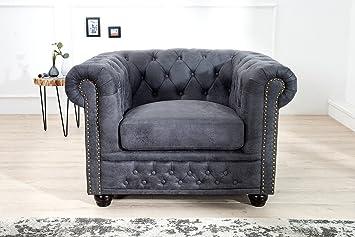 Casa-Padrino Sillón Chesterfield Antiguo Gris - sillón Gris ...