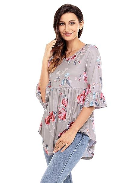 ff2156fbb92801 GOSOPIN Women 3/4 Sleeve Floral Ruffle Tee Tops Casual Loose Blouse Small  Gray