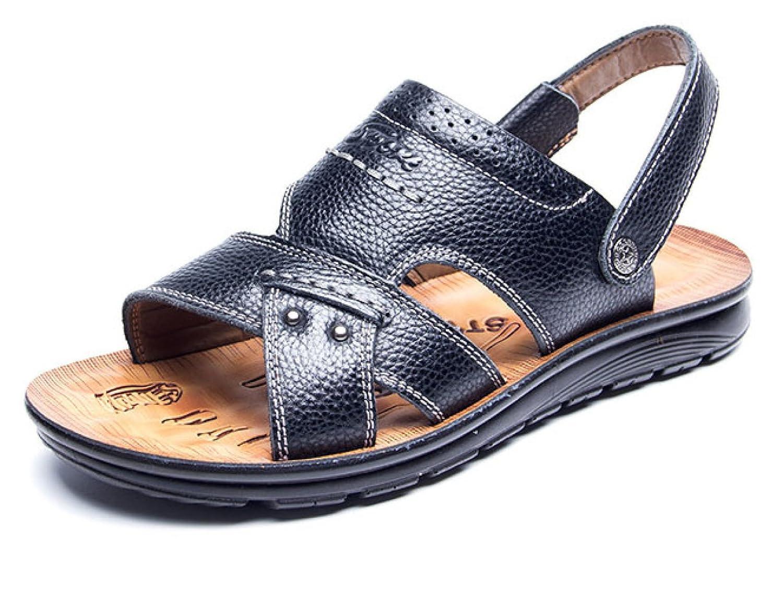 Zapatos De Playa Casuales De Verano De Cuero Antideslizante Sandalias Y Sandalias De Mediana Edad De Fondo Grueso 38 EU|Negro