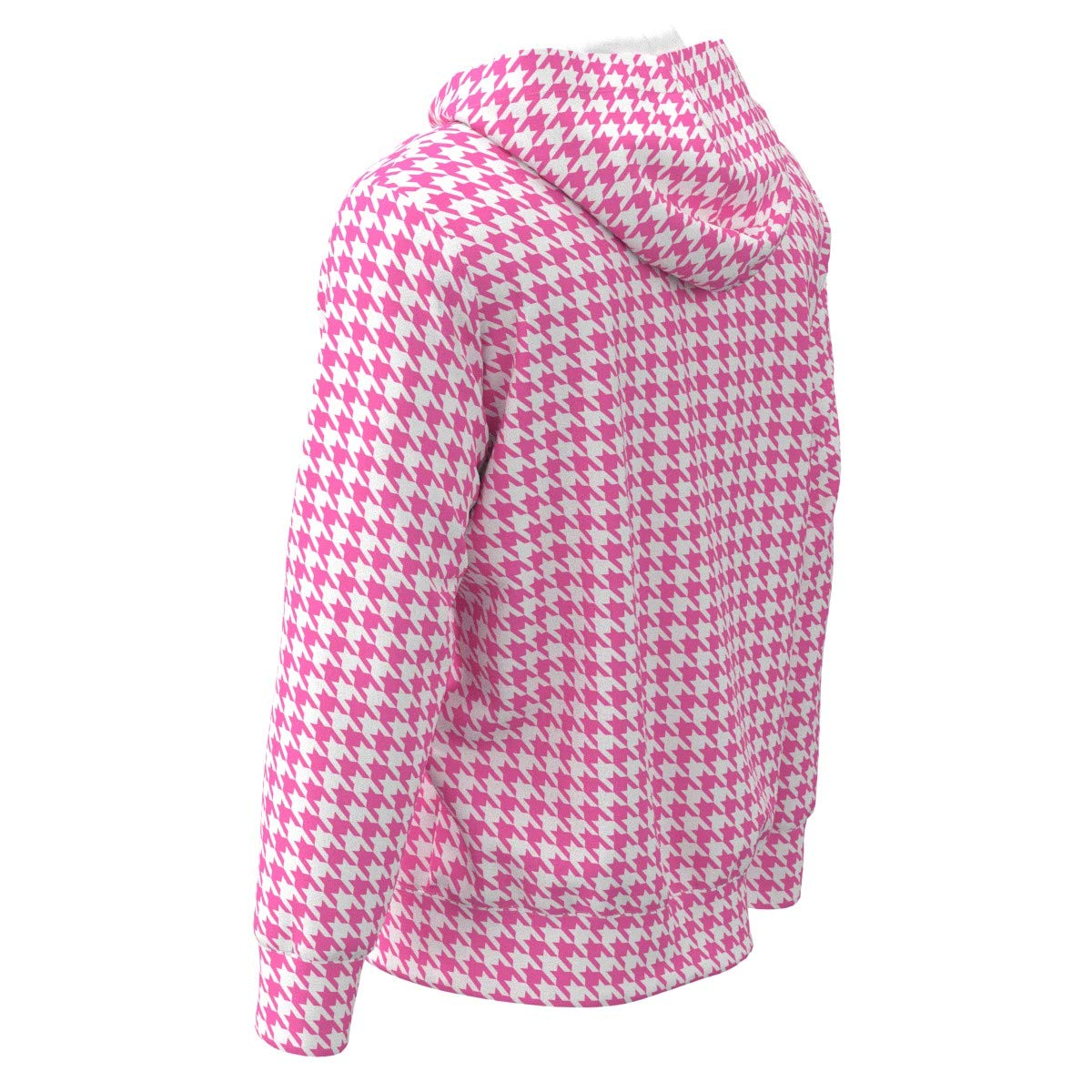 EightyThree XYZ Pink White Houndstooth Women Zipper Hoodie Sweatshirt XS-3XL